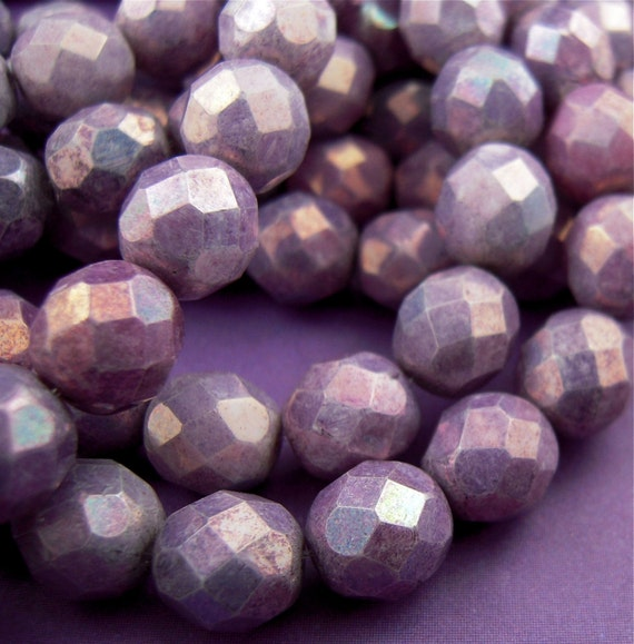 12 8mm Firepolished Faceted Opaque Amethyst Beads