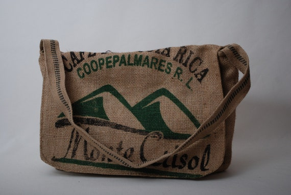 Recycled Burlap Coffee Bean Sack Messenger Bag-Great for the Beach, School, Work