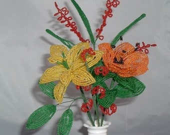 French Beaded Flower Sampler Orange ,Red and Yellow