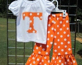 Tennessee shirt and Ruffle Pants- Orange Polka Dots