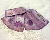 shabby chic tags in violet