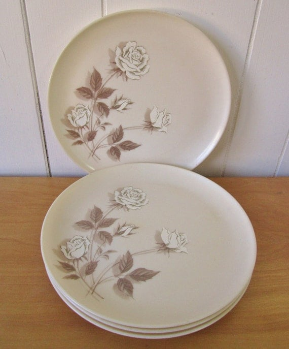 4 vintage rose melmac dinner plates cottage chic