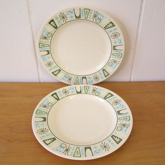 2 vintage atomic Taylorstone Cathay bread plates