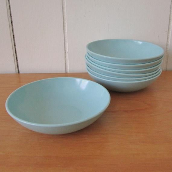 7 vintage aqua berry melmac bowls Stetson