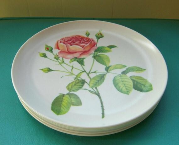 SALE 6 shabby chic vintage pink rose melmac dinner plates