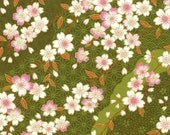 Chiyogami or yuzen paper - pretty waves of pink cherry blossoms on green, 9x12 inches