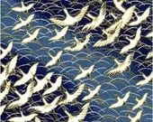 Chiyogami or yuzen paper - long life cranes in cobalt blue, 9x12 inches