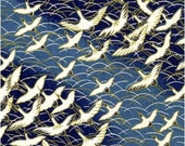 RESERVED FOR Dharma - Chiyogami or yuzen paper - long life cranes in cobalt blue, 9x12 inches