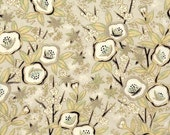Chiyogami or yuzen paper - black and taupe poppies, 9x12 inches