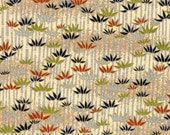 Chiyogami or yuzen paper - silver bamboo, navy, olive, and rust with gold accents, 9x12 inches