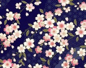 Chiyogami or yuzen paper - pretty waves of pink cherry blossoms on indigo, 9x12 inches