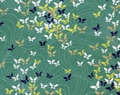 Chiyogami or yuzen paper - navy blue, white and gold butterflies on celadon green, 9x12 inches