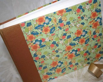 Handbound Photo Album - mango, blue and sage green blossoms, small, studio CLEARANCE price