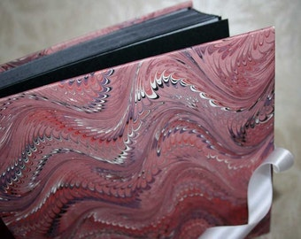 Handbound photo album - fancy combed wave in red, One of a Kind, small, studio CLEARANCE price