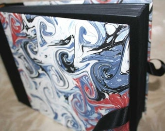 Handbound photo album - marbled French curl in black and blue, small, studio CLEARANCE price