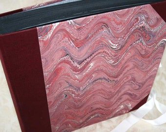 Handbound photo album - fancy combed wave in red, One of a Kind, extra-large, studio CLEARANCE price