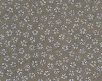 Chiyogami or yuzen paper - metallic silver cherry blossoms on dove grey, 9x12 inches