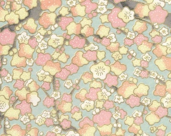 Chiyogami or yuzen paper - cherry blooms - pink and ivory, 9x12 inches