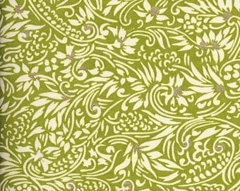 Chiyogami or yuzen paper - spring green, ivory swirl with gold, 9x12 inches