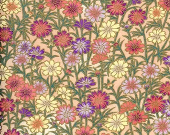 Chiyogami or yuzen paper - fresh daisy, pink and mauve, 9x12 inches