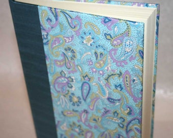 Handbound Lined Journal - lavender and silver floral paisley, 6x8.5, SALE