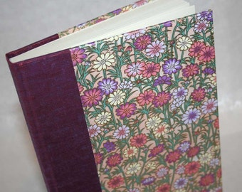 Handbound Unlined Journal - fresh daisy, pink and mauve, 6x8.5, SALE