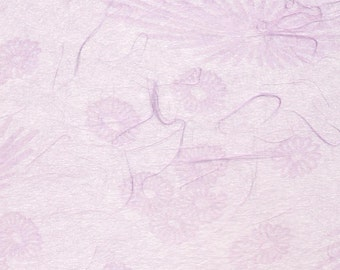 Japanese mum tissue paper - scattered mums and blooms in lilac, 2 letter-sized sheets