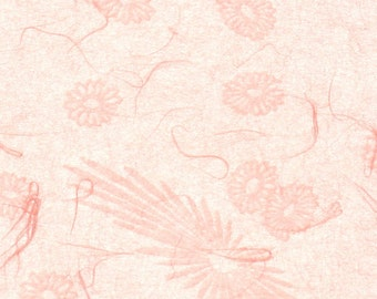 Japanese mum tissue paper - scattered mums and blooms in pale pink, 2 letter-sized sheets