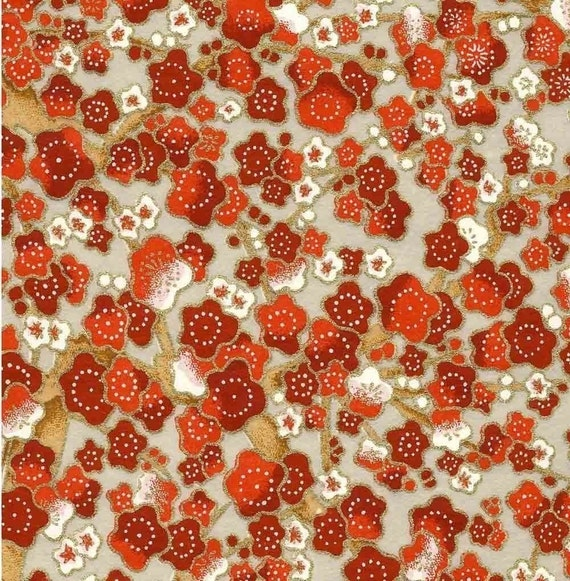 Chiyogami or yuzen paper - deep red cherry blossoms on gold and silver, 9x12 inches
