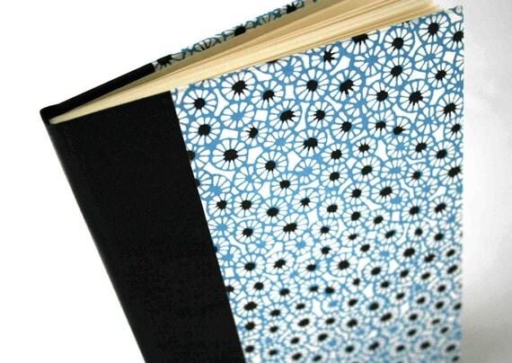 SALE - Handbound Address Book - geometric white and blue umbrellas