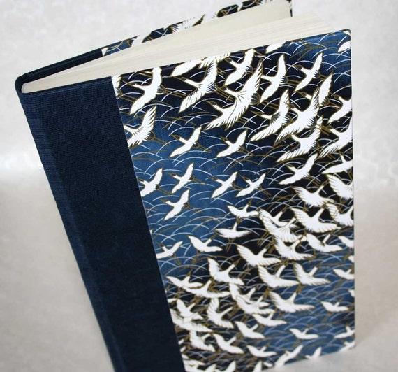 Handbound Lined Journal - long life cranes in cobalt blue, 6x8.5