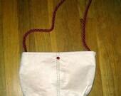 Faux Suede Off White Shoulder Bag