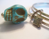 Turquoise Skull and Bead Embellished Bangle Bracelet - Black Friday Etsy - Cyber Monday  Etsy - FREE SHIPPING