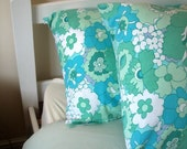 Aqua, Blue and White Flowers Vintage Pair of Pillowcases