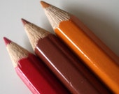 Brooch - made from  mini coloring pencil crayons - Rust - a Mini Pencils Brooch