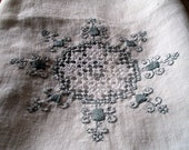 Silver grey embroidered Vintage Square White Linen Tablecloth