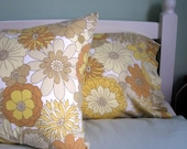 Reserved for Tracey - Vintage Pillowcases - Pair of Marks and Spencers - Yellow, Beige and White Flowers
