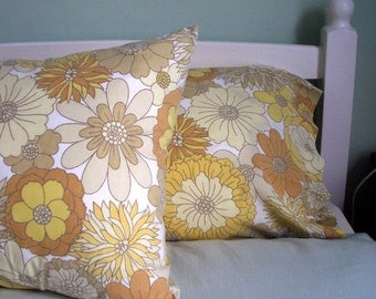 Vintage Pair of Pillowcases - Yellow, Cream and Taupe Flowers