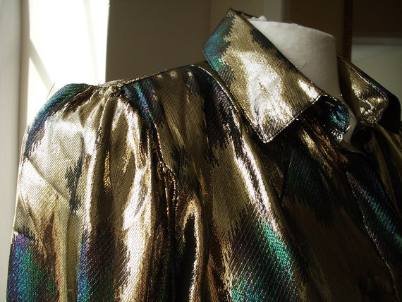 Vintage Blouse - Gold Lame Glitter Top, Blouse or Shirt