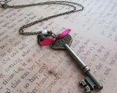 You Need Heart to Soar The Skies Vintage Brass Skeleton Key Necklace