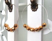 Golden Nuggets on Sterling Silver Hoops