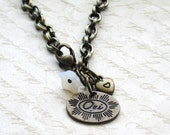Oxidized Brass French OUI Heart and White Glass Flower Bracelet