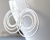Round and Round Sterling Silver Earrings, Dangle Sterling Earrings