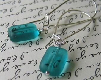 Aqua Glass Sterling Silver Earrings