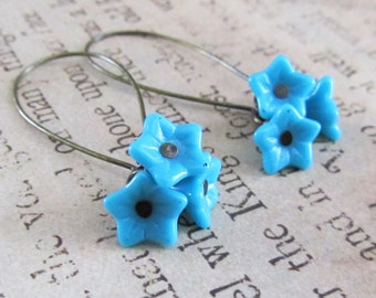 Vintage Turquoise Glass Flowers and Brass Earrings