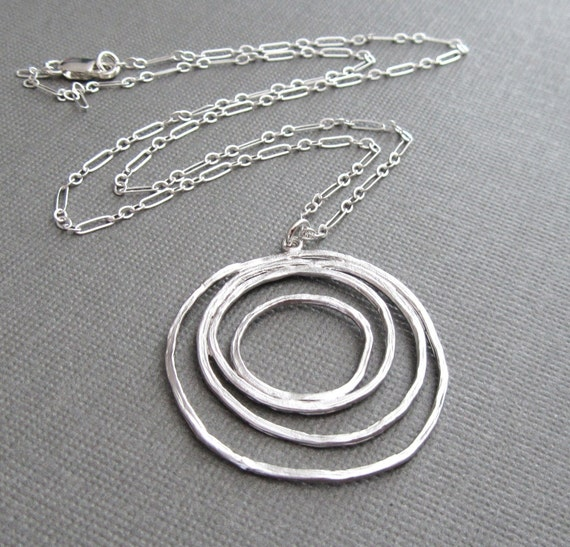 Sterling Silver Round and Round Necklace