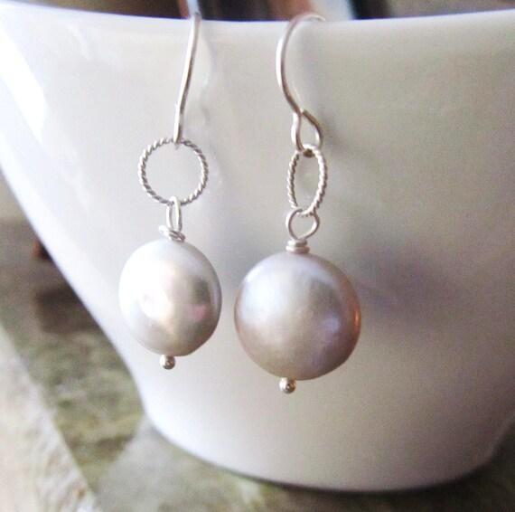 Silver Freshwater Coin Pearl Sterling Silver Earrings - Bridal Earrings - Bridesmaid Earrings
