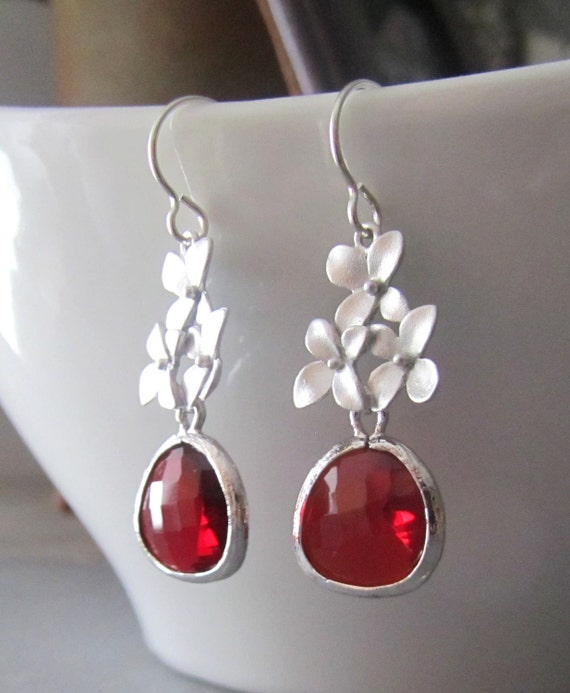 Red Ruby Glass and Cherry Blossom Sterling Silver Earrings - Bride Earrings - Bridal Jewelry