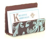 Fabric Desktop Business Card Holder Turquoise and Brown Vine