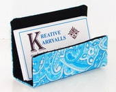 CLEARANCE Fabric Desktop Business Card Holder Turquoise and White Paisley on Black